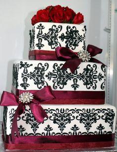 Elegant Fall Garden Modern Burgundy Silver White Square Wedding Cakes Photos & Pictures - WeddingWire.com