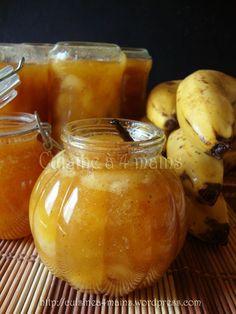 Banana jam with vanilla Autumn is well installed, and c . Chutney, Banana Jam, Breakfast Recipes, Dessert Recipes, Brunch, Vegetable Drinks, Healthy Eating Tips, Food Menu, Sweet Recipes