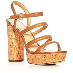 Michael Michael Kors Nantucket Strappy Block Heel Platform Sandals (465 BRL) ❤ liked on Polyvore featuring shoes, sandals, acorn, strappy sandals, strap shoes, strappy shoes, michael michael kors shoes and strappy platform sandals