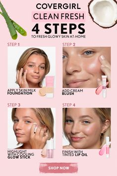 Looking for a healthy & a clean skin? These great skin care tips can help you. Aloe Vera, Glowy Skin, Skin Makeup, Covergirl, Cruelty Free Makeup Collection, Beauty Skin, Beauty Makeup, Lip Oil, Makeup For Beginners