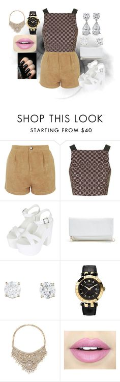 """Untitled #368"" by moniquedawson09123 ❤ liked on Polyvore featuring Motel, Topshop, GUESS, Versace, Bebe and Fiebiger"