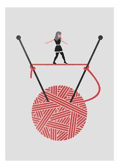 Yarn girl knitting red cute tightrope walker grey por teconlene