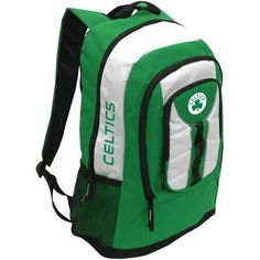 "The Boston Celtics bring this amazing Colossus backpack, made from heavy polyester with reflective nylon trim, spacious zippered interior, inner laptop pouch (16""x11""), zippered outer pocket, mesh side pouches, adjustable back straps, and team logos printed and embroidered on the top and back. Officially licensed by the NBA. Height: 23 inches Width: 14 inches Depth: 7 inches"