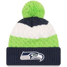the latest a3a08 2bf02 Women s New Era College Navy Seattle Seahawks Layered Up Cuffed Pom Knit Hat