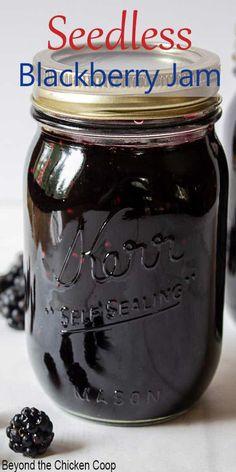 Seedless Blackberry Jam, Homemade Blackberry Jam, Blackberry Jam Recipes, Blackberry Jam No Pectin, Blackberry Freezer Jam, Strawberry Jam, Homemade Jelly, Homemade Jam Recipes, Sweet Recipes