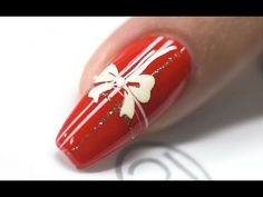 CHRISTMAS NAILS RED WHITE RIBBON DESIGN - NAILS 21 - YouTube