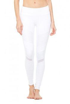 Moto Legging | Women's Bottoms | ALO Yoga (White Size XS)