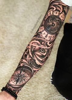 Clock Tattoo Sleeve, Half Sleeve Tattoos Forearm, Animal Sleeve Tattoo, Geometric Sleeve Tattoo, Skull Sleeve Tattoos, Forarm Tattoos, Half Sleeve Tattoos Designs, Cool Forearm Tattoos, Hand Tattoos For Guys