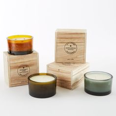 Recycled Glass Candle Pots | west elm Wooden box packaging