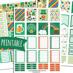 St. Paddy's Day PRINTABLE Planner Stickers for ECLP Vertical | Sticker Printables | Happy Planner Stickers | St Patrick's Day Stickers
