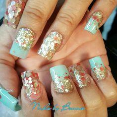 Mint green nails prom nails wedding nails Quincera  nails