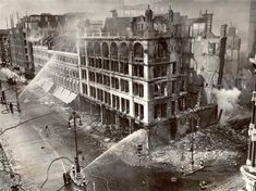 John Lewis a day after the bombing • Oxford Street • 1940 The Search, London, Projects, Plants, Painting, Art, Trees To Plant, Search Engine, Buildings