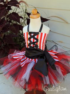 Pirate Tutu Costume, pirate tutu, pirate birthday,Pirate Dress, Girls Pirate Costume by Gurliglam, $75.00