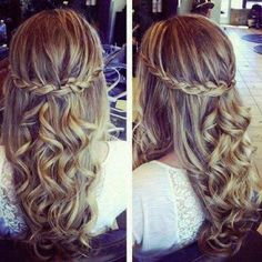 Braided Golden Curly Hairstyle for Prom