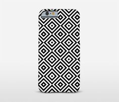 Geometric Cell Case Black And White iPhone Cases by Macrografiks