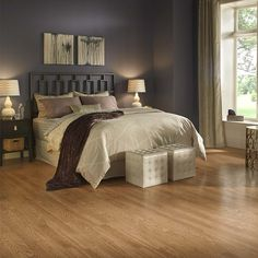 Shop Pergo MAX 7.61-in W x 3.96-ft L Natural Oak Embossed Laminate Wood Planks at Lowes.com