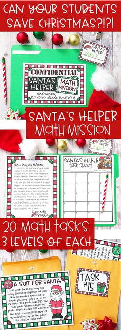 "Get students excited about math and problem solving while celebrating the holiday season!! This resource invites students to become ""Santa's Helpers"" by asking them to help Santa complete 20 different math tasks!! Start out with a letter from Santa and end with a thank you note! These math task cards are perfect for upper grade students in 3rd, 4th, and 5th grade. They are great for math centers or if your just looking for some fun activities for your classroom before winter break!"