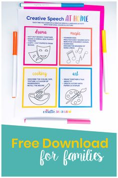 Creative Speech therapy at home (Freebie) - I created this free Creative Speech at Home printable for families so parents can incorporate speech and language practice into creative activities like drama, music, art, and cooking at home. This will make practicing speech and language more meaningful and fun for your child. Have fun! | Creative Speech Lab #speechtherapyideas #speechtherapyathome #creativespeechtherapy #speechtherapyfreebie
