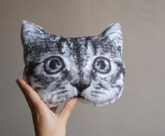 "Cat pillow:  Black and white tabby cat head, hand painted cushion, 9.06"" x 7.88"", $55.27 + Ship  -  MosMea via Etsy   (04.22.14)"
