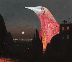 Shaun Tan - Empire (red wattlebird), oil on canvas, 180 x 150cm