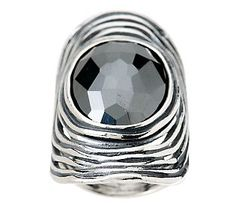 Or Paz Sterling Faceted Hematite Elongated Ring