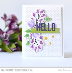 Stamps: Painted Prints Card Kit, Itsy Bitsy Polka Dot Background  Die-namics: Painted Prints Card Kit, Stitched Fishtail Sentiment Strips, Happy Greetings    Vika Salmina  #mftstamps