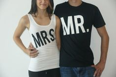 Mr and Mrs Shirts. Bride and Groom. Big Mr and by BridesDelight, $29.50 on the Etsy registry with colors and details customized. :-D he's gonna hate me!