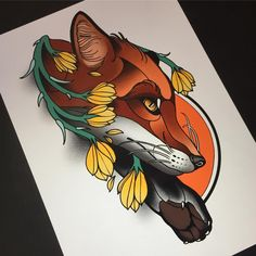 New Tattoo Heart Neotraditional Neo Traditional Ideas Traditional Tattoo Animals, Traditional Tattoo Design, Traditional Ideas, American Traditional, Tattoo Sketches, Tattoo Drawings, Zorro Tattoo, Neo Tattoo, Fuchs Tattoo