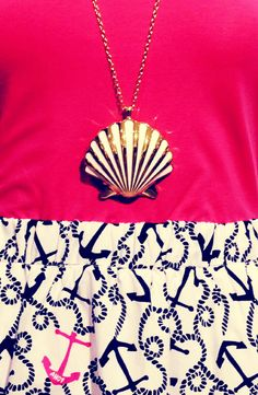 Nautical inspired outfit. #necklace #hangit