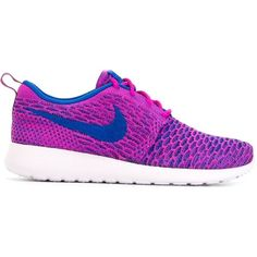Nike Roshe One Sneakers ($138) ❤ liked on Polyvore featuring shoes, sneakers, round cap, round toe shoes, purple shoes, lacing sneakers and lace up sneakers