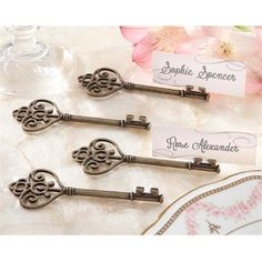 Kate Aspen 11134NA Key To My Heart Victorian-Style Key Place Card Holder (Pack of 4)