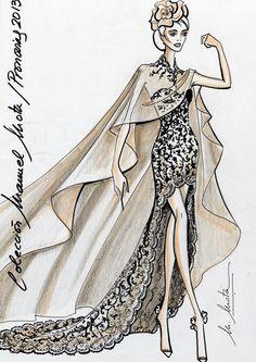 Los vestidos de novia cortos con cola son una de las tendencias de la colección. En la imagen, VALERY, con capa a juego. Foto: Pronovias