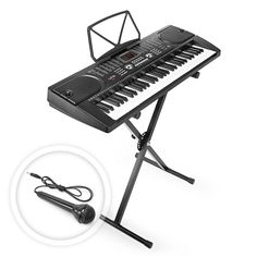 Hamzer 61 Key Electronic Piano Electric Organ Music Keyboard with Stand - Black   128 Timbres, 128 rhythms, and 61 keyboard percussions 10 demonstration songs Tempo adjustment and accompanying volume control Record and playback functions Microphone with a 4 foot cord, audio input, output, and headphone jack