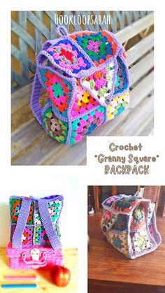 Crochet Gifts, Cute Crochet, Knit Crochet, Crochet Granny, Crochet Stitches, Crochet Patterns, Crochet Backpack, Hand Embroidery Flowers, Art Textile