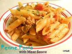 Penne Pasta with Meat Sauce | A quick, simple dish that's meat sauce is outrageously delicious #recipe #pasta Pasta Recipes, Cooking Recipes, Recipe Pasta, Sauce Recipes, Pasta With Meat Sauce, Penne Pasta, Delicious Dinner Recipes, Pasta Dishes, Rice Dishes