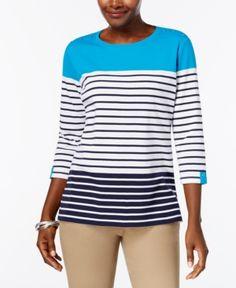 Karen Scott Petite Colorblocked Striped Top, Created for Macy's - Blue P/XL