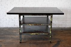 Industrial Kitchen Island Made out of reclaimed wood and industrial metal shelving. http://www.imaginationfurnishings.com/