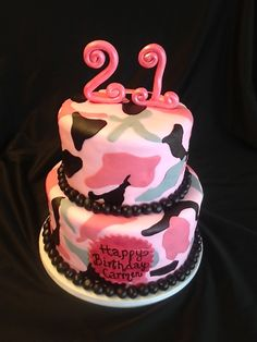 pink camo cake   Sweet T's Cake Design: Pink Camo 2 tier Birthday Cake