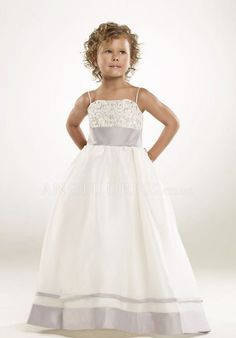 Spaghetti Straps Satin Ball Gown Empire With Embroidery Floor Length Junior Dresses