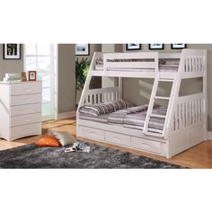 Discovery World Furniture Twin Over Full White Mission Bunk Bed | Cambridge  | Viv Rae