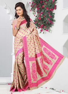 Online saree shopping from an exclusive collection of designer sarees. Buy this subtle beige casual saree for festival and party.