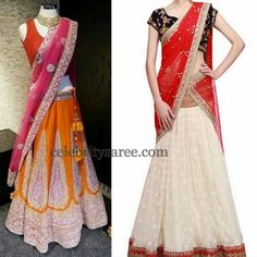 Trendy Colorful Net Half Sarees | Saree Blouse Patterns