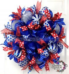 Deco Mesh Summer Patriotic Wreath Royal Blue Red Silver Ribbon July 4th Door Wreath by www.southerncharmwreaths.com $87 #decomesh #wreath #memorial #july4