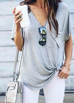 summer outfits Grey Pocket Tee White Jeans