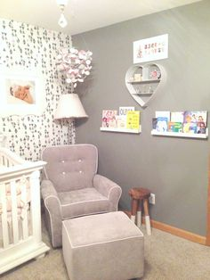 Gray and pink nursery with modern wallpaper accent wall - love this look!