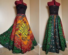 Rainforest Daze - Long Colorful African Patchwork Skirt, Ooak Ethnic Bohemian chic