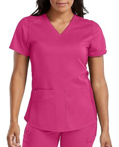 Med Couture Touch Kerri Shirttail Hem V-Neck Scrub Top Scrub Tops, V Neck Tops, Stretch Fabric, Scrubs, Couture, Womens Fashion, Touch, Shopping