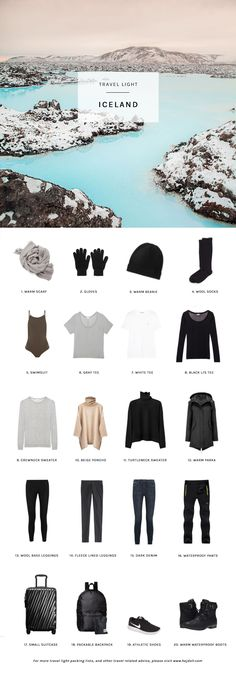 Travel Light – Pack for Winter in Iceland. 20 items, 10 outfits, 1 carry-on. Travel Light – Pack for Winter in Iceland. 20 items, 10 outfits, 1 carry-on. Capsule Wardrobe, Travel Wardrobe, Iceland Adventures, Style Feminin, Travel Capsule, Winter Packing, Iceland Travel, Packing Light, Travel Light