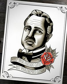 Don Vito Corleone The Godfather Traditional Tattoo Print