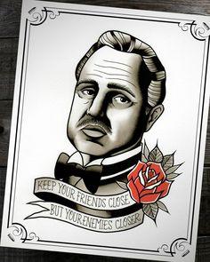 Don Vito Corleone The Godfather Traditional Tattoo Print